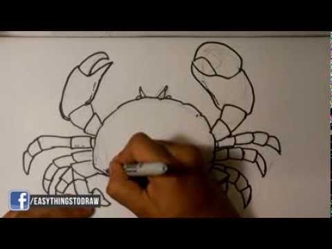 How to Draw a Crab - Easy Drawings - YouTube  How to Draw a C...