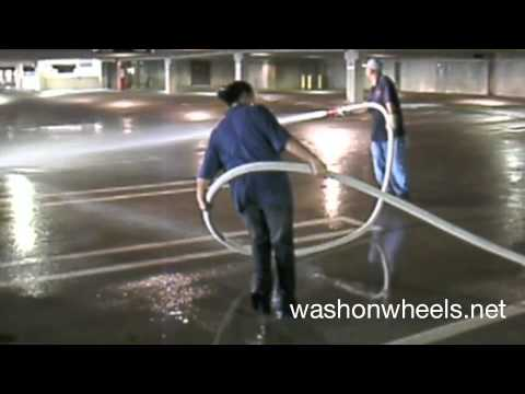 Parking Garage Cleaning Using A Fire Hose