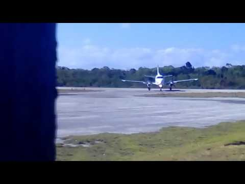 C90 land and taxi to gate (Congo town Andros  airport)