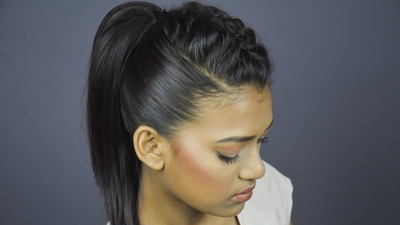french braided ponytail hairstyle