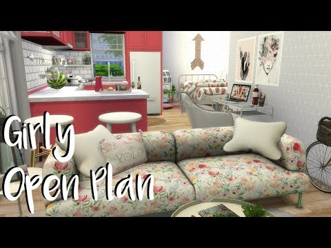The Sims 4: Speed Build/ GIRLY OPEN PLAN APARTMENT + CC Links