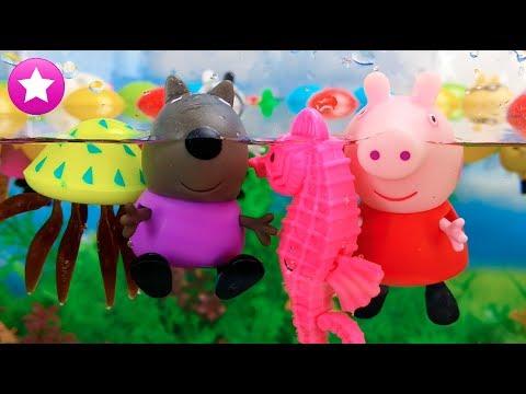 Peppa pig y danny dog nadando y buceando en la piscina for Peppa pig en la piscina