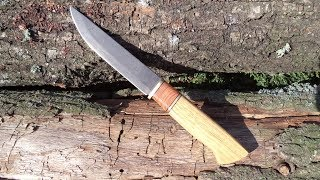 "Нож из мехпилы Р6М5 ""Ворон"" рукоять из дуба (Клип) Knife from mekhpila HSS ""Raven"" handle from oak"