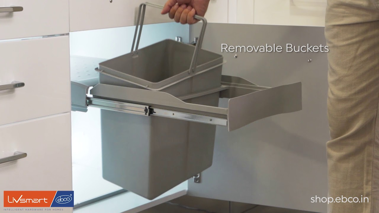 Pull Out Double Waste Bin 42l Compact Convenient And Easily Accessible Youtube