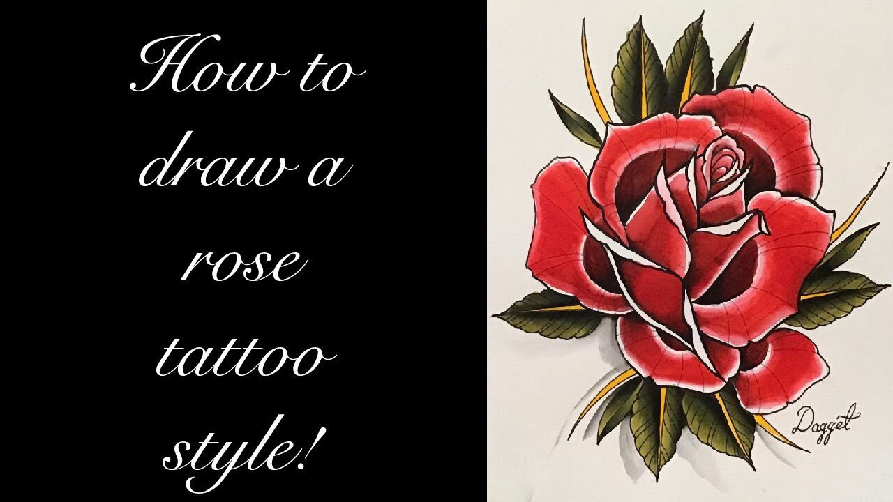 4952bdd22 How to draw a rose tattoo style! - YouTube