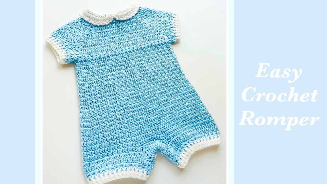 Crochet baby romper - Various sizes- LEFT HAND VERSION (en español también) Crochet for Baby