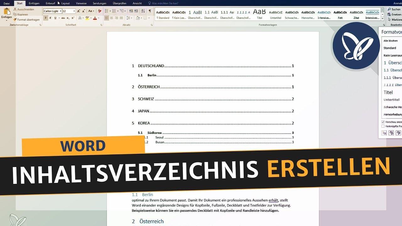 Word Online Inhaltsverzeichnis