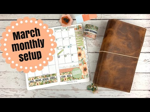 "March Monthly Using Cocoa Daisy ""Orchard Path"" Collection.  #CocoaDaisy #Marchplanner #OrchardPath"