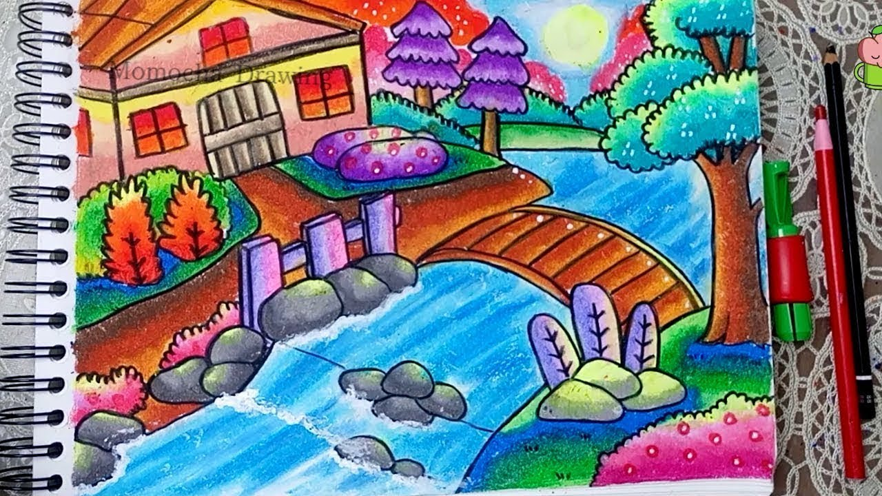 How To Draw And Color Nature Scenery With Oil Pastel For Kids Step By Step
