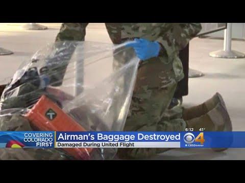 Laura - Airplane lavatory leaks on Colorado Airman's luggage