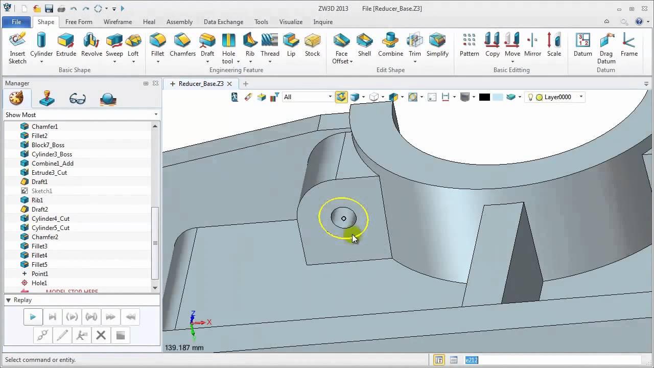 In zw3dcad die untere h lfte eines getriebe geh uses for Home design 3d gratis italiano
