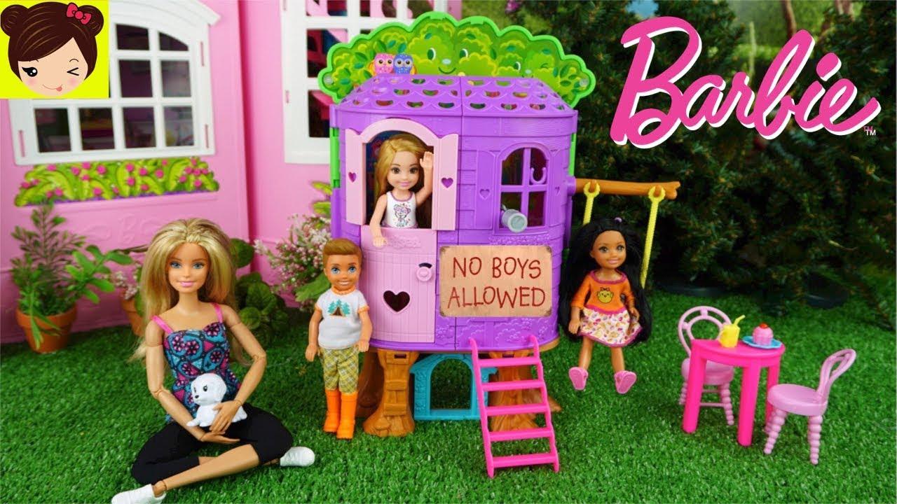 Barbie chelsea no quiere jugar con los ni os en su casa de - Casita con tobogan para ninos ...