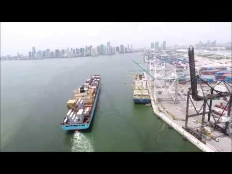 Miami Harbor Pilot Turning Large Container Vessel