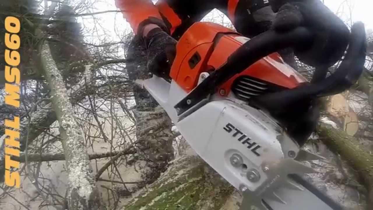 stihl motorsäge ms 660 im einsatz - youtube