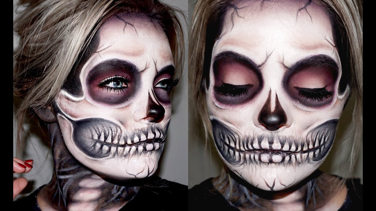 skeleton skull makeup tutorial brianna fox youtube