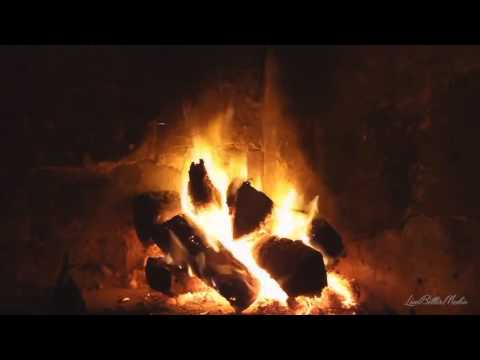 Entspannende Musik mit Ton knisternden Feuer auf Feuer Feuer brennender Kamin