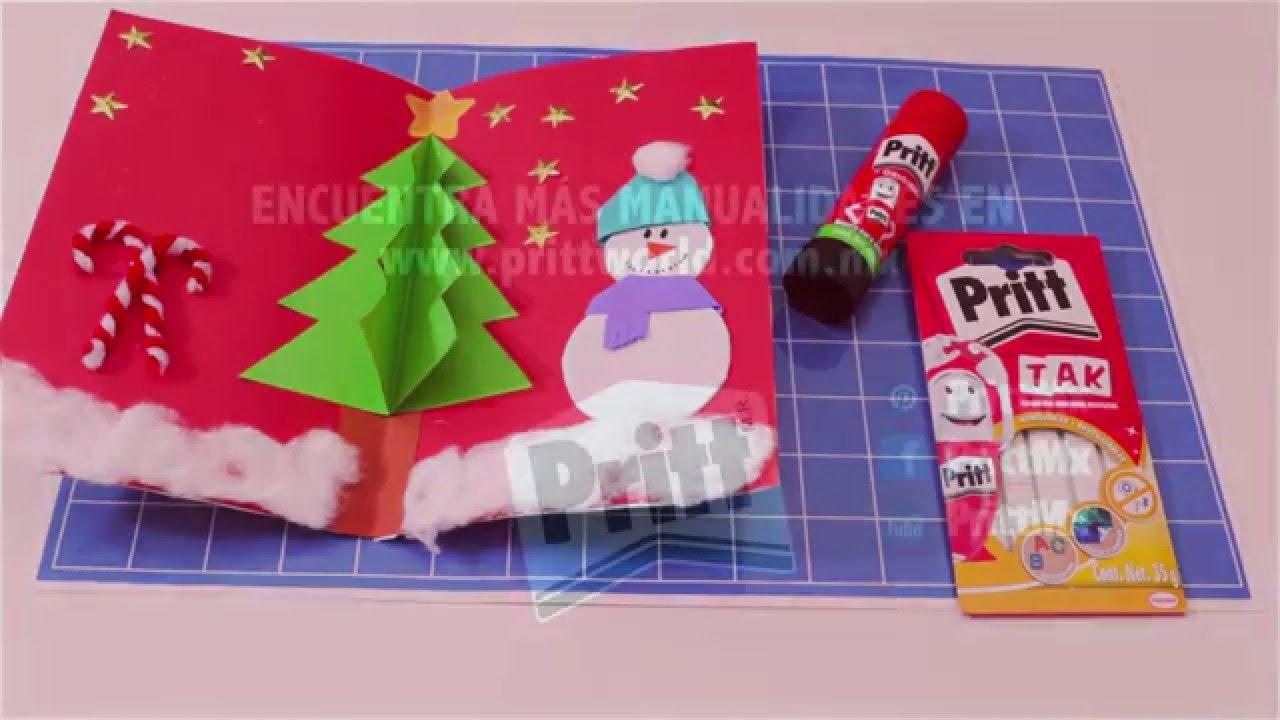 tarjeta de navidad 3d con pritt youtube - Tarjeta De Navidad En 3d