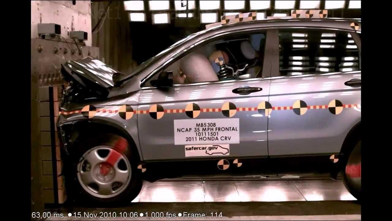 Honda cr v 2011 frontal crash test youtube for Honda crv crash test