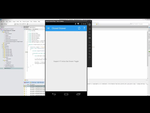Xamarin Android Tutorial   49   Left Drawer Layout   Part 2