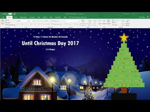 Countdown To Christmas In Excel With Christmas Tree Lights