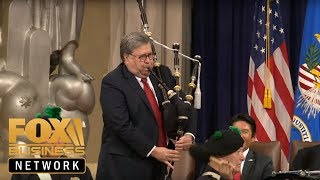 AG Barr plays bagpipes, speaks at US Attorneys\' Natl Conference
