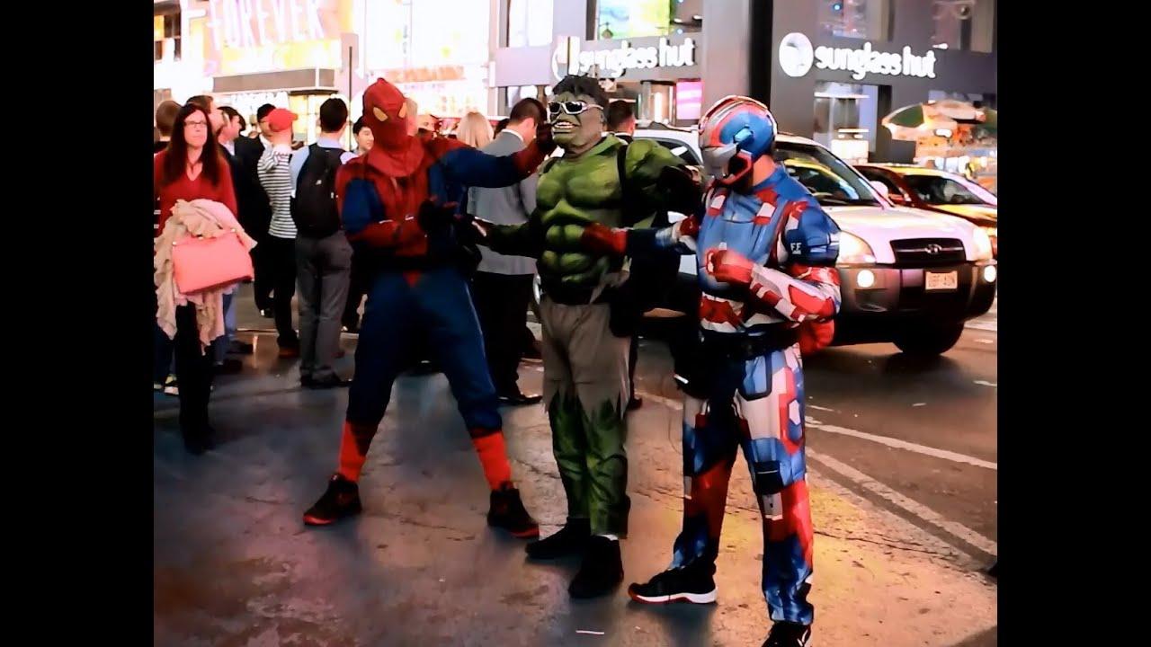 Iron Man  Batman  Spiderman  Hulk In Times Square - New York City Videos