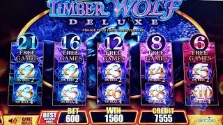 Timber Wolf Deluxe $6 Max Bet Bonus & Retrigger | Wild Leprecoins  Super FREE GAMES Won | WW 2 Slot