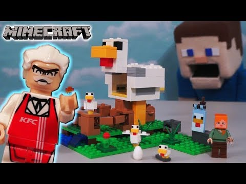 LEGO Minecraft Chicken Coop vs KFC Colonel Sanders Unboxing Chicken Thief - Puppet Steve