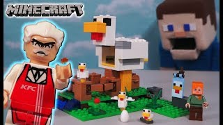 LEGO Minecraft Chicken Coop vs KFC Colonel Sanders Unboxing Chicken Thief - Puppet Steve