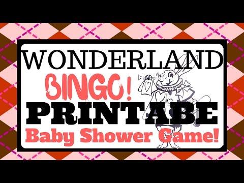 Alice In Wonderland Baby Shower Game | Printable Bingo