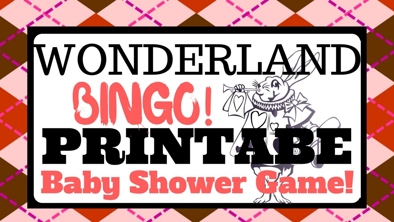 Alice In Wonderland Baby Shower Game Printable Bingo YouTube