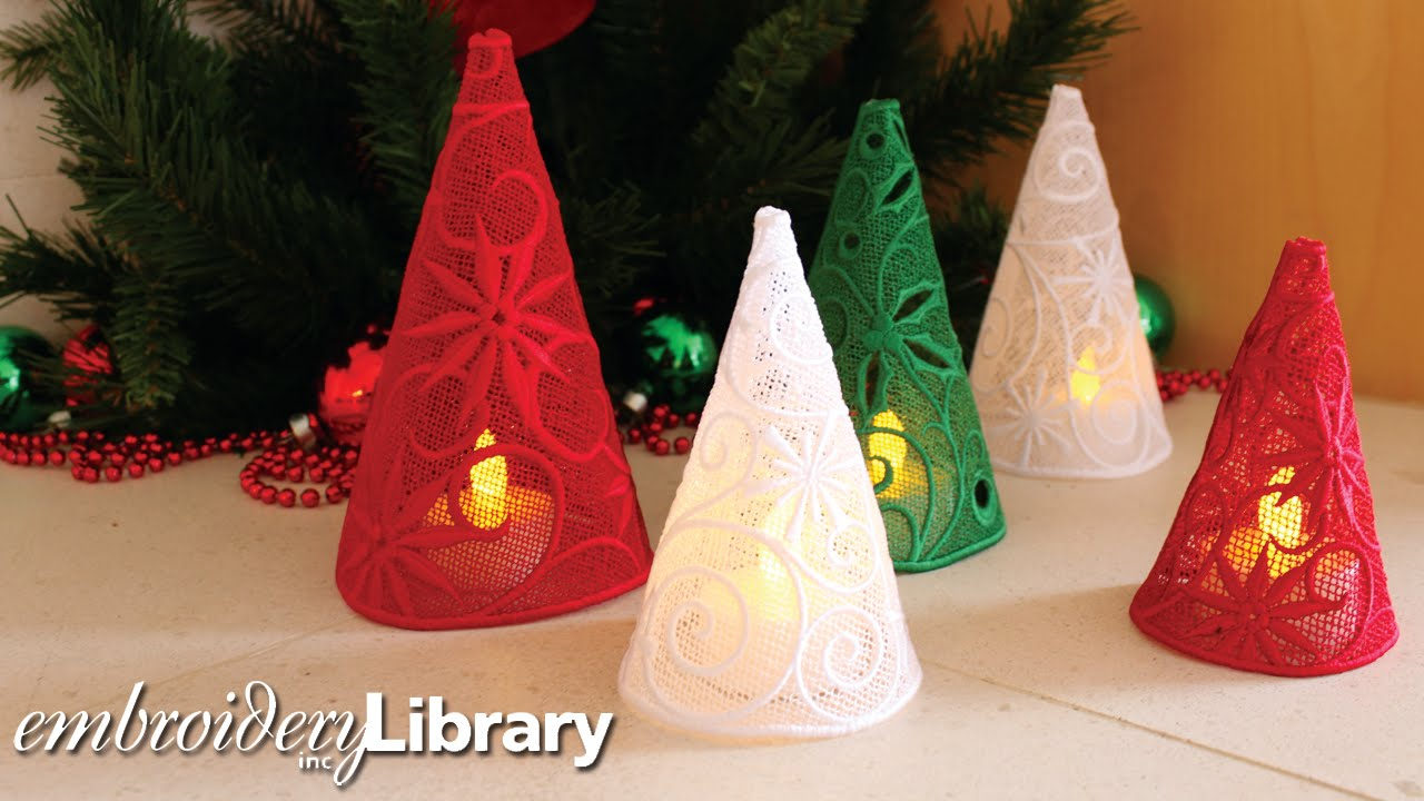 making freestanding lace christmas trees