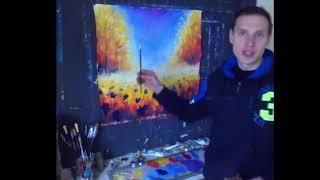 Осенняя цветочная поляна. Рисование маслом и мастихином. Time Lapse