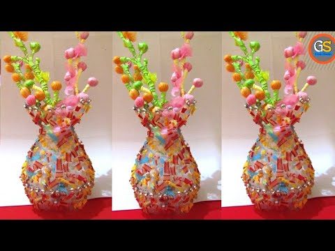 Empty Plastic Bottle Vase Making Craft Water Bottle Recycle Flower