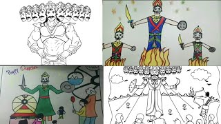 How to draw ravan drawing - dussehra drawing collections