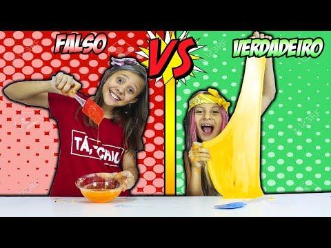 VERDADEIRO vs FALSO  ( REAL vs PRANK SLIME CHALLENGE!!! )