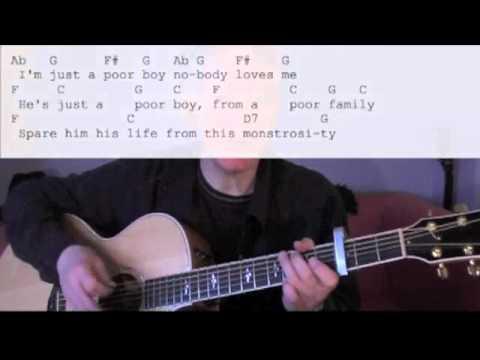 Queen Bohemian Rhapsody Guitar Accompaniment Lesson Part 2 of 3