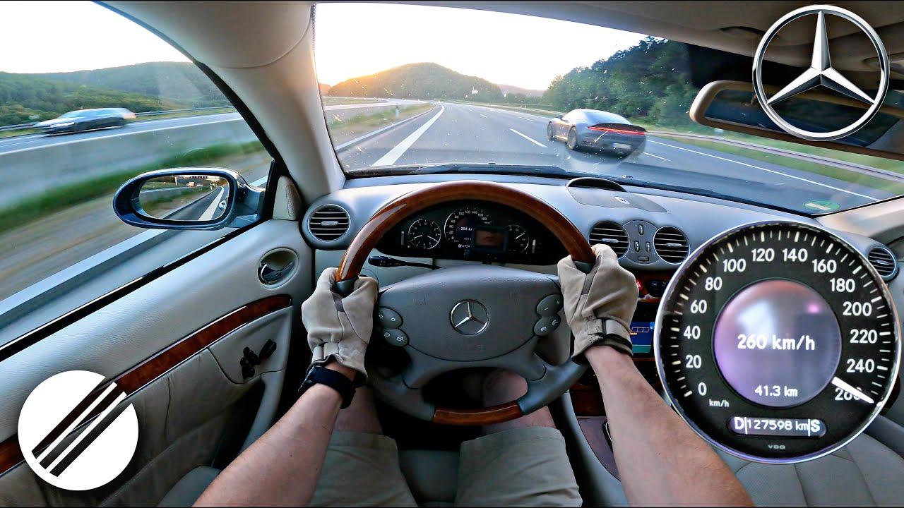 2003 MERCEDES-BENZ CLK 500 TOP SPEED DRIVE ON GERMAN AUTOBAHN 🏎