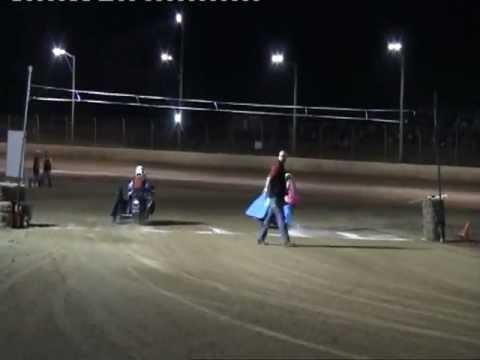 JUNIOR SIDECARS THRILLING RACE AT MARYBOROUGH SPEEDWAY QLD AUSTRALIA.