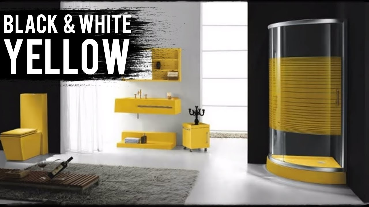 Black White And Yellow Bathroom Designs