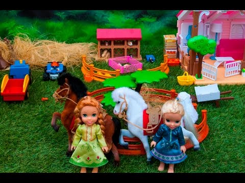 Elsa and Anna toddlers at the farm with Barbie, horse riding, water splash and relax and pool fun
