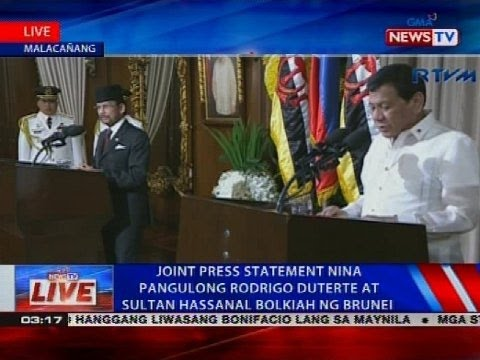Joint press statement nina Pangulong Rodrigo Duterte at Sultan Hassanal Bolkiah ng Brunei