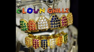 Clown CZ Grillz Set 18k Gold Plated Multi-Color Teeth Hip Hop Grills