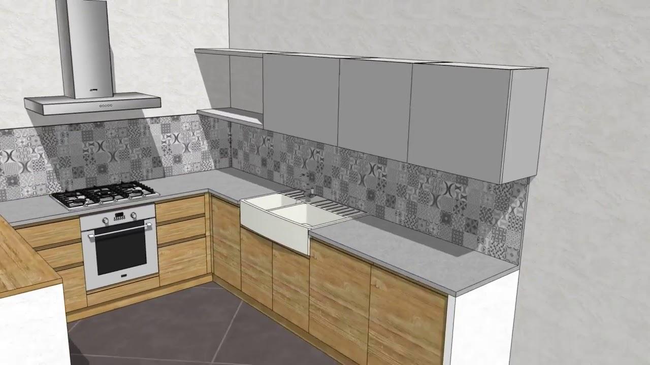 Progetto #21 Cucina moderna legno naturale e pensili laccati grigio ...