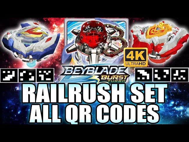 QR CODES RAILRUSH SET VALTRYEK V4 Z ACHILLES A4 ORIGINAL COLORS EM 4K! BEYBLADE BURST TURBO APP