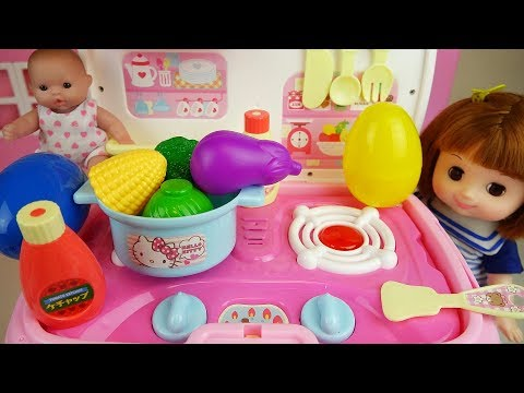 Thumbnail: Baby doll and Hello Kitty Kitchen car surprise eggs and food toys play