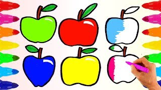 How to Draw Apple and Coloring | Apples Painting | Learn colors for kids Fun and Creative for babies