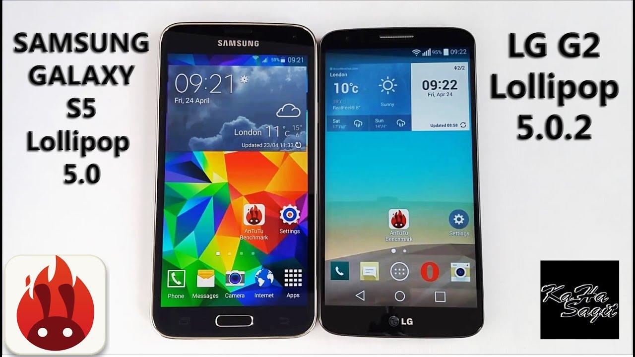 LG G2 D802 Lollipop 5.0.2 vs Samsung Galaxy S5 Lollipop 5 ...
