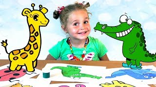 Nadia paints funny cartoons  - drawing for kids easy