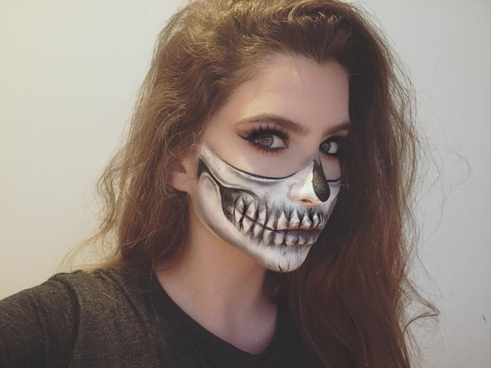 halfskull halloween makeup tutorial inspired by